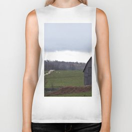 Barn and the Cattle on the hill Biker Tank