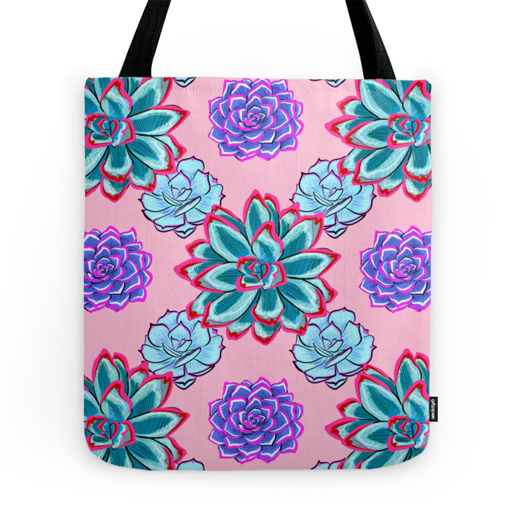 Pretty Tiling Pastel Succulent Print Tote Purse by annaleebeer (TBG7452412) photo