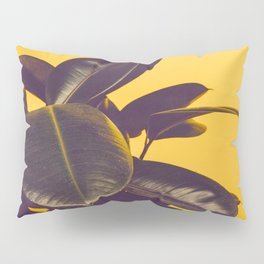 Mid Century Modern Yellow Background Color Pop Minimalist Plant Leaves Pillow Sham
