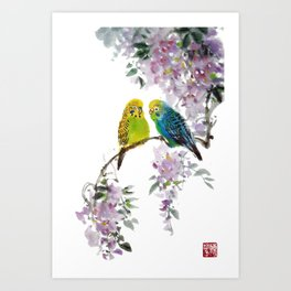 Budgerigars Art Print