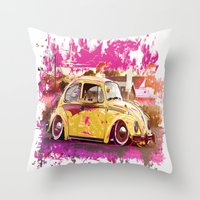 volkswagon Throw Pillows featuring yellowinpink beetle bug by Vector Art