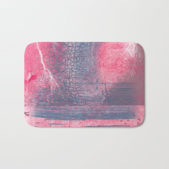 Town and the storm, pink, gray, blue Bath Mat