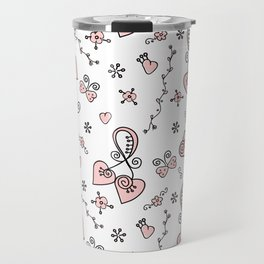 Seamless doodle valentine pattern with hearts Travel Mug