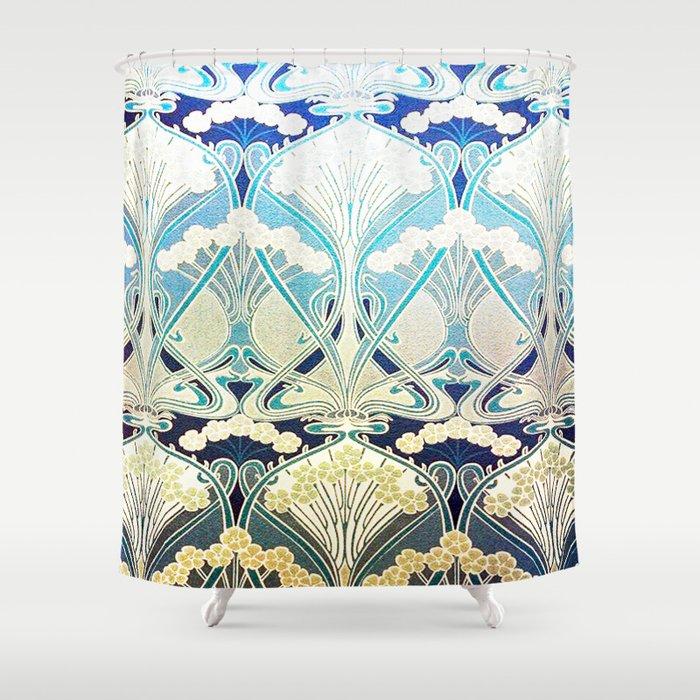 Silver Art Nouveau Shower Curtain By Healinglove8