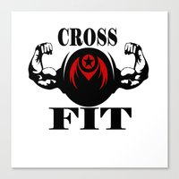 crossfit Canvas Prints featuring CROSSFIT 1 by Robleedesigns