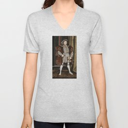 Portrait of Henry VIII - After Hans Holbien the Younger Unisex V-Neck