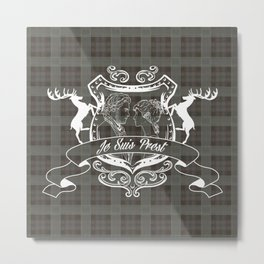 Outlander plaid with Je Suis Prest crest Metal Print