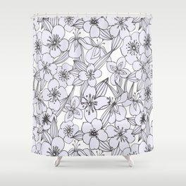 Hand drawn modern black white botanical floral pattern Shower Curtain