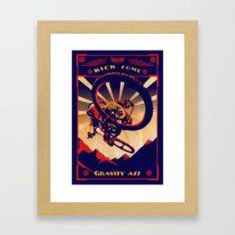 retro mountain bike poster: kick some gravity ass Framed Art Print