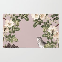 Birds and the Bees Pink Berry Rug