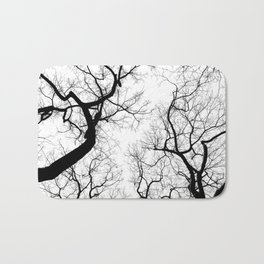 Black and white tree top silhouettes... Bath Mat