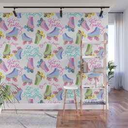 Roller Skates Pattern (White Background) Wall Mural