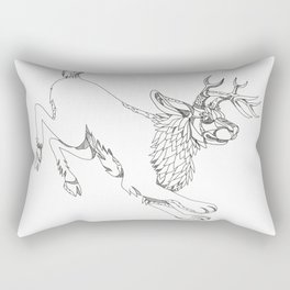 Jackalope Hopping Doodle Art Rectangular Pillow