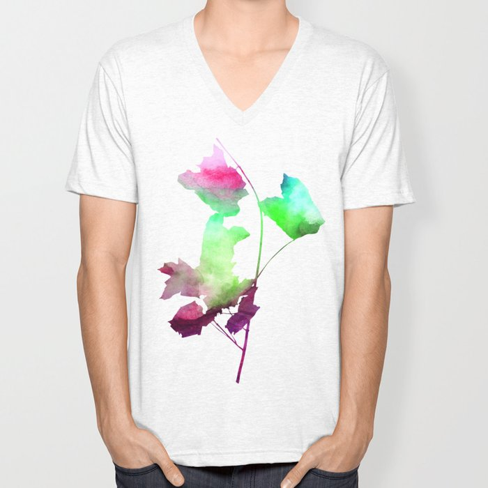 Maple_Watercolor2 by Jacqueline and Garima Unisex V-Neck