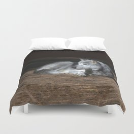 Gray Wolf at Rest Duvet Cover
