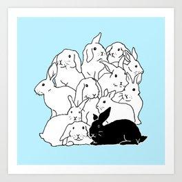 Black & White & Blue Rabbits Art Print