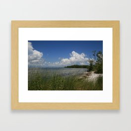 Sandiest cover photo material  Framed Art Print