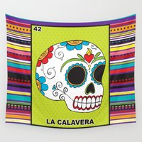 calavera Wall Tapestries featuring La Calavera by Studio Longoria