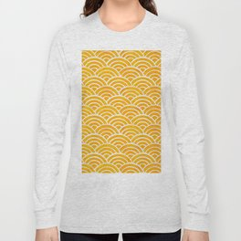 Japanese Seigaiha Wave – Marigold Palette Long Sleeve T-shirt