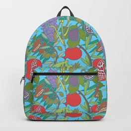 Seven Species Botanical Fruit and Grain with Aqua Background Backpack
