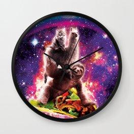 Space Cat Llama Sloth Riding Taco Wall Clock