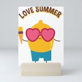 Love Summer Lemon Eating Ice Cream Mini Art Print