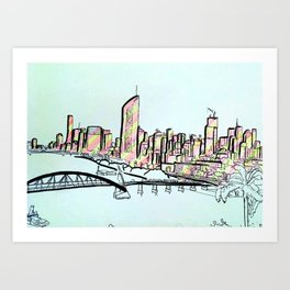 BRISBANE POSTCARD SERIES 012 Art Print