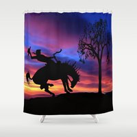 cowboy Shower Curtains featuring Cowboy by Laureenr