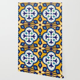 Yellow and Blue Moroccan Tile Wallpaper