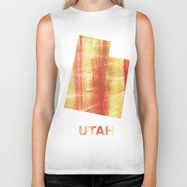 Utah map outline Red Yellow colorful watercolor texture Biker Tank