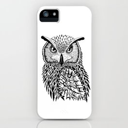 Flustered Owl Zentangle (abstract iPhone Case