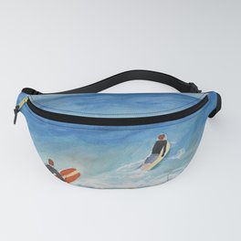 Going Surfing Watercolor Illustration Fanny Pack