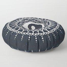 Yin Yang Mandala / White Mandala over stars Floor Pillow