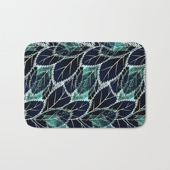 Bright turquoise leaves on a black background. Bath Mat