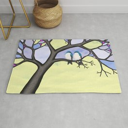 tree swallows in the stained glass tree Rug