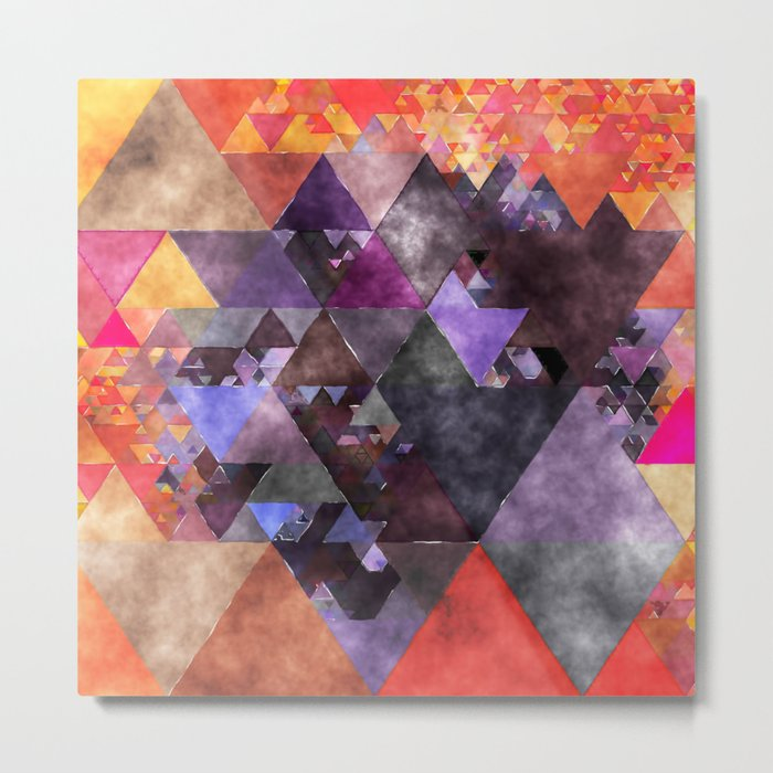 Abstract fire red yellow blue Triangle pattern- Watercolor Illustration Metal Print