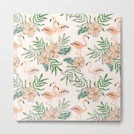 Minimalistic Summer Tropical Birds Garden  Metal Print
