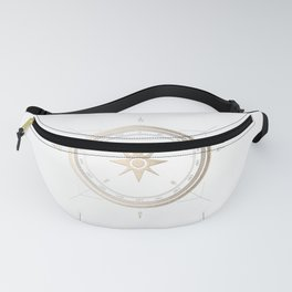 Gold Compass on White II Fanny Pack