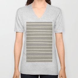 Dover White 33-6 Hand Drawn Horizontal Lines on Ever Classic Gray 32-24 Unisex V-Neck