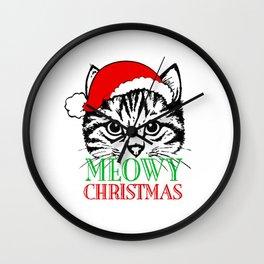 Meowy Christmas Merry Cat Kitten Ugly Wall Clock