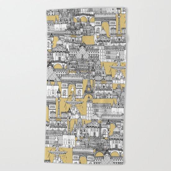 Paris toile gold Beach Towel