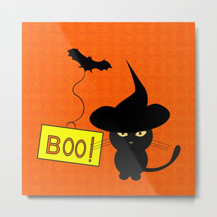 Cute cat on Halloween Metal Print