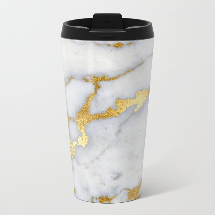 White and Grey Marble and Gold Metal foil Glitter Effect Metal Travel Mug