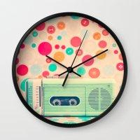 radio Wall Clocks featuring Radio Dots  by Caroline Mint