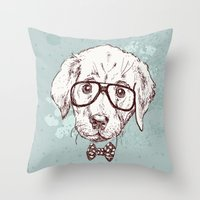 puppy Throw Pillows featuring Puppy by Iriskana