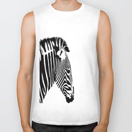 Zebra Portrait Biker Tank