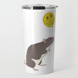 Rat with a Happy Face Balloon Travel Mug