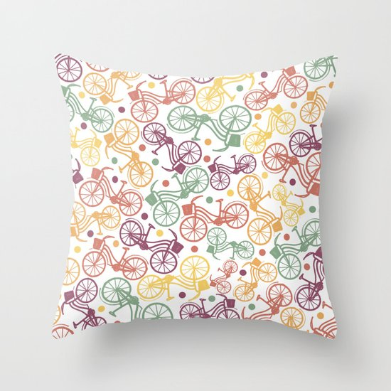 Whimsical bicycle pattern & retro polka dots Throw Pillow