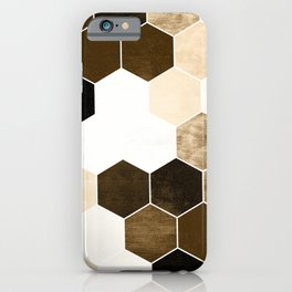 Honeycombs print, sepia colors hexagons with stone effect iPhone Case
