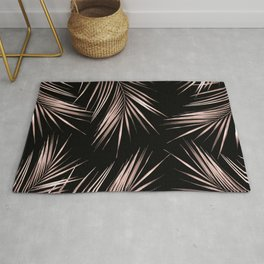 Rosegold Palm Tree Leaves on Midnight Black Rug